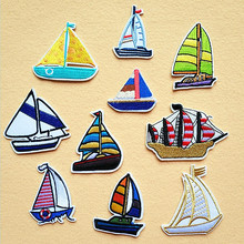 20pcs/lot  Embroidery Patches Letters Cute Boat Sailboat Clothing Accessories Heat Transfer Badge Iron Clothes