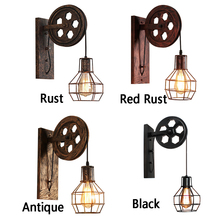 Retro Industrial Rustic Lifting Pulley Corridor Wall Lamp Iron Loft Cafe Living Room Lantern Fixtures Sconce Light Adjustable