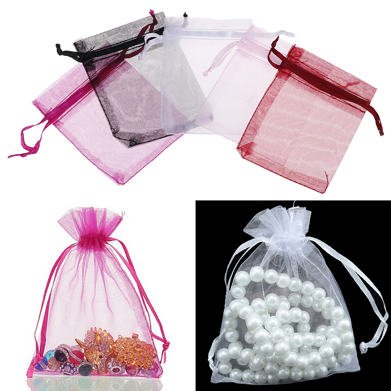 100 Pcs/bag Organza Drawstring Bags Drawstring Bags Jewelry Mesh Gift Pouches Container
