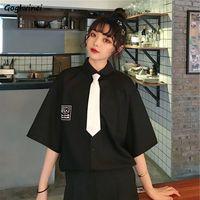 Blusen Frauen Shirts Sommer Printed Drehen-unten Kragen Adrette Schuluniform Kawaii Frische Stilvolle Damen Tops Chic Einfache