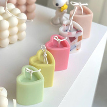 Diy Handmade Candle Mold Candle Making 3d Columnar Heart Shape Plastic Acrylic Mold Resin Soap Cake Chocolate Making Tools