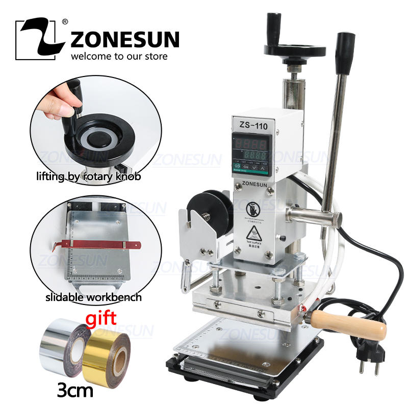 ZONESUN ZS110 slideable workbench Digital hot foil stamping machine leather embossing bronzing tool for wood wood PVC paper DIY machine tool