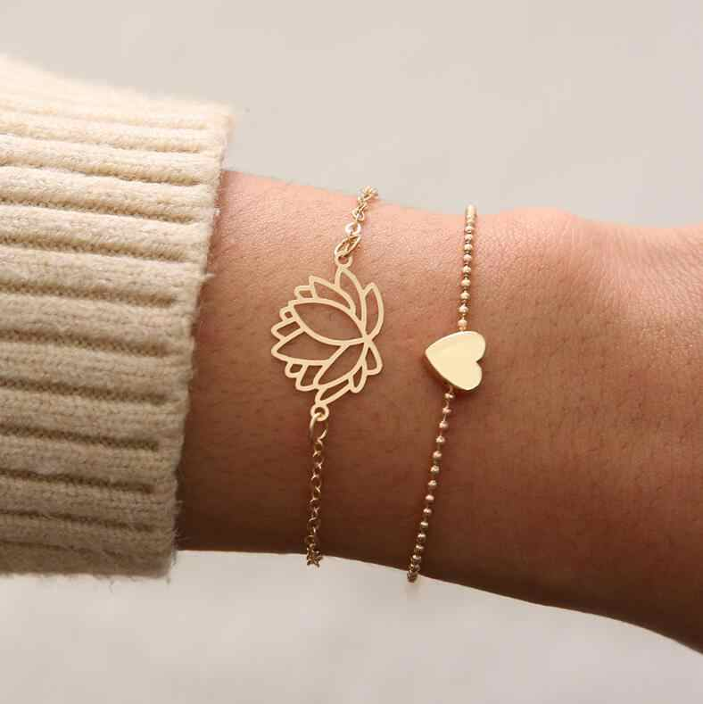 2019 Thin Hollow-Lotus Simple Bracelets Gift Female Personality Gold Bangle Yoga Meditation Jewelry 14.5cm+6cm Extender
