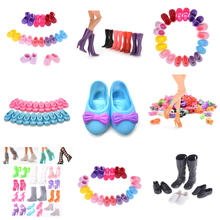 10/12Pairs Imitation Fairy Tale Crystal Shoes Colorful High Heel Sandals For girl Doll Clothes Dress DIY Accessories Kids Toys(China)