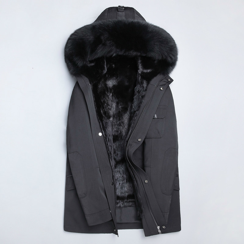 Real Fur Coat Natural Mink Fur Liner Parka Winter Jacket Men Real Raccoon Fur Collar Jackets Mink Fur Coat Plus Size 4264 YY727