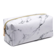Large Capacity Simple Marble Pencil Case Cute Pu Zipper Makeup Storage Student Pen Box Bags School Stationery Supplies(China)