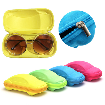 1PC Children Car Shaped Glasses Case Portable Sunglasses Protection Case Colorful Fashion Lovely Kids Glasses Box Dropshipping image