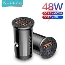 Carregador de carro kuulaa para celulares, carregamento rápido 4.0, 48w qc pd 3.0 usb para samsung, xiaomi, iphone adaptador de carregador de telefone,