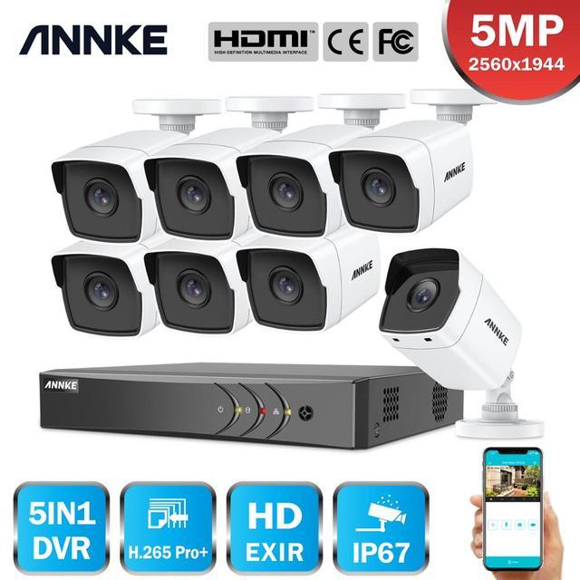 ANNKE 8CH 5MP לייט 5IN1 Ultra HD וידאו אבטחת מצלמה מערכת H.265 + עם 8PCS 5MP עמידה Bullet חיצוני ערכת מעקב