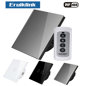 Eruiklink 1/2/3 Gang 1 Way Wall Sensor Touch Switch Crystal Glass Wall lamp Switch EU/UK Standard with RF Remote Control saful wireless switch control more receiver 2 gang 2 way switch 150m remote tempered glass panels led home wall touch switch