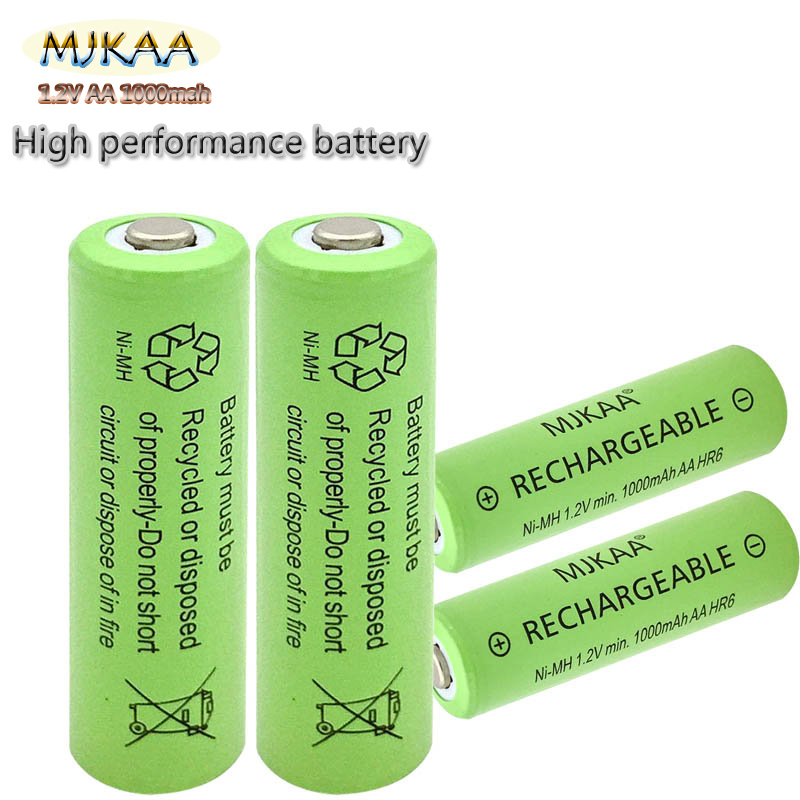 MJKAA 4PCS New Slices 1.2V 1000mAh NI-Mh Aa Rechargeable Battery Electronic Toys Neutral AA Is Suitable For The Torch