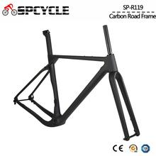 Spcycle Aero Full Carbon Gravel Bicycle Frame Disc Brake Cyclocross Bike Carbon Frameset Front 100*12mm Rear 142*12mm Thru Axle 2018 new carbon bike frame toray t1000 full carbon fiber disc brake bicycle frameset 46 50 52cm ceccotti bike frames