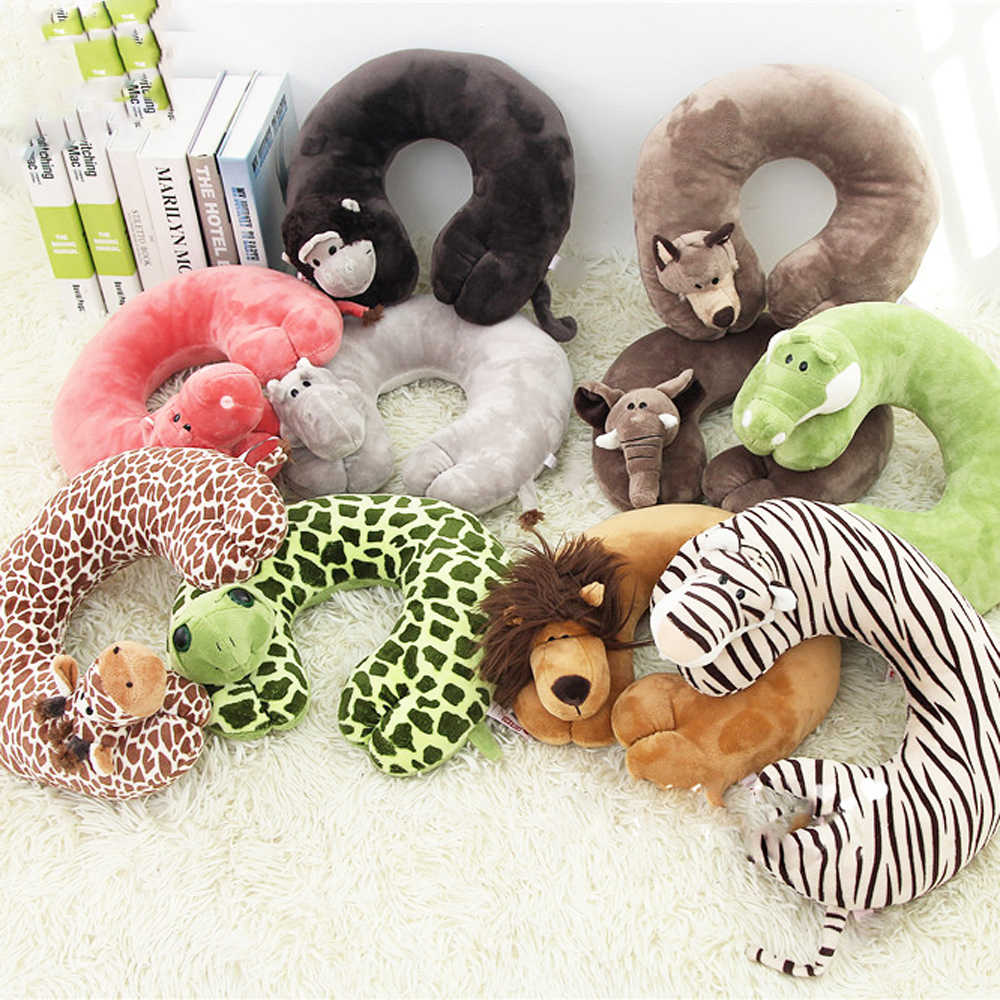 cute cartoon animal u shaped memory travel pillow neck support headrest for adults and children office car airplane sleep