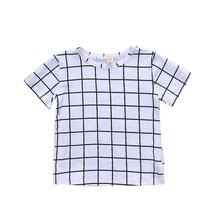 1-6T Summer Boys T Shirt Toddler Girl Tees Plaid T-shirt for Girls Cotton Childrens Tshirts Boy Child Shirts Kids Tops