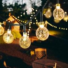 Новинка, 20 светодиосветодиодный, хрустальный шар, 5 м, Солнечная лампа, светодиодная гирлянда, сказочные огни, семейный сад, Рождественский Д...