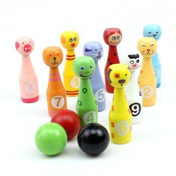 13pcs/set Wooden Bowling Set 10 Pins 3 Ball Animal Game for Children 24BD
