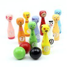 13pcs/set Wooden Bowling Set 10 Pins 3 Ball Animal Bowling G