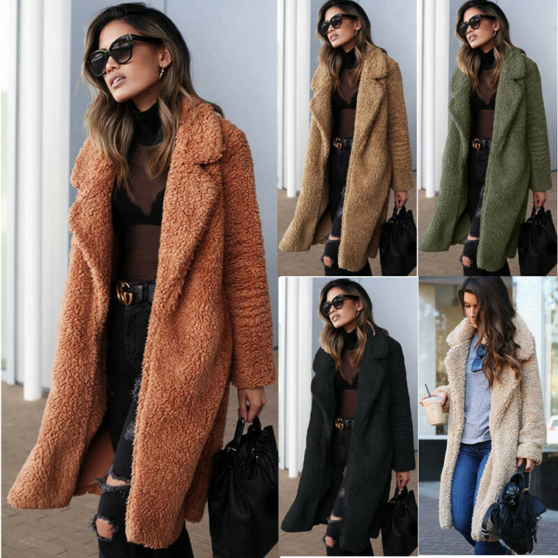 US Winter Women Teddy Bear Fur Coat Ladies Knee Long Vintage Jacket Outwear Top