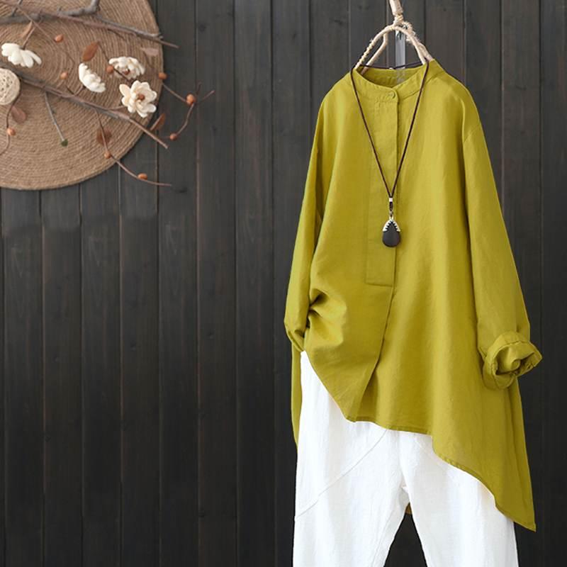 ZANZEA Spring Women Long Sleeve Solid Top Casual Irregular Hem Shirt Loose Cotton Linen Blouse Femininas Vintage Blusa Plus Size