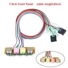Funda de ordenador para Pc 2Usb, 7,4 cm, Panel frontal, Puerto Usb de Audio, micrófono, Cable de Extensión de línea, Puerto USB deflector
