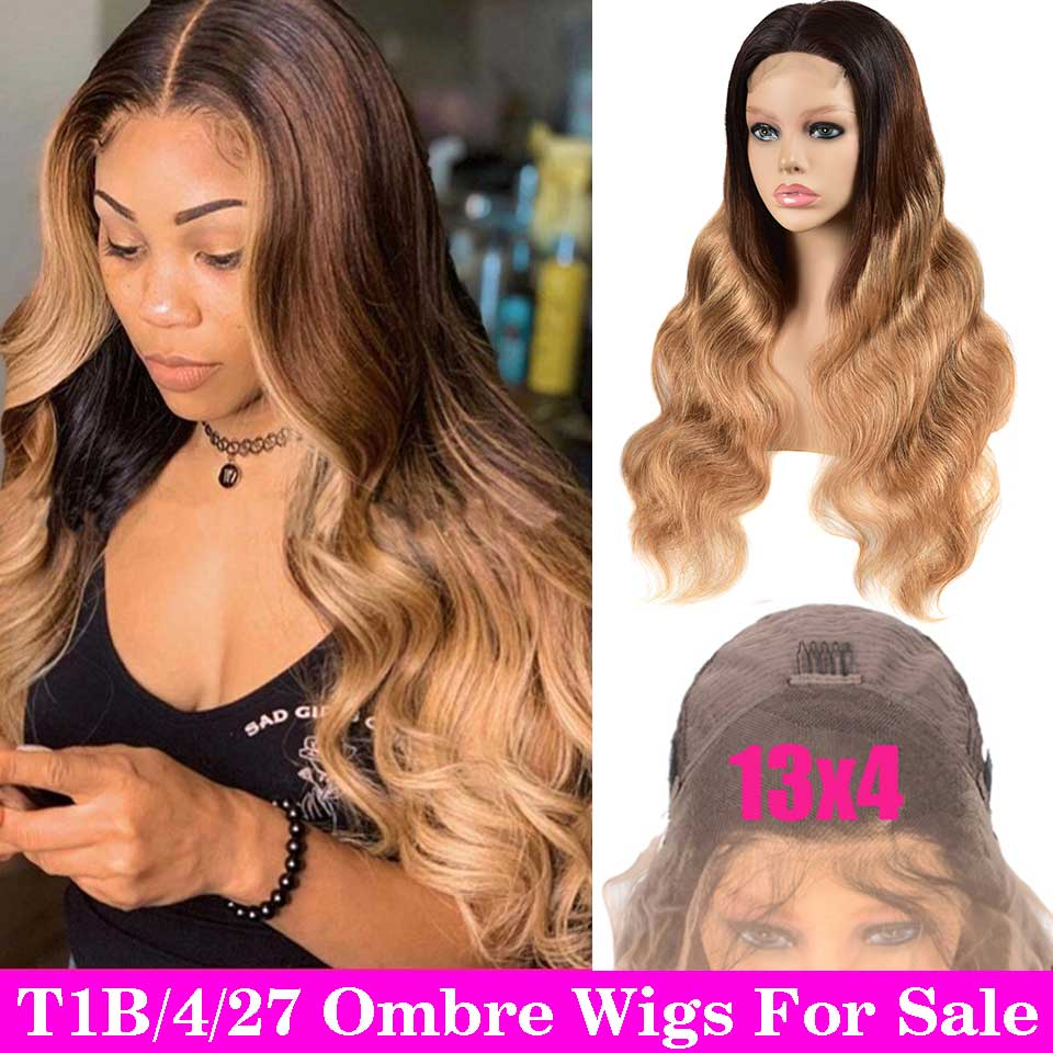 13X4 Lace Front Human Hair Wigs Pre Plucked T1B/4/27 30 Remy Ombre Body Wave Wig With 4X4 Closure Brazilian Wig For Black Women