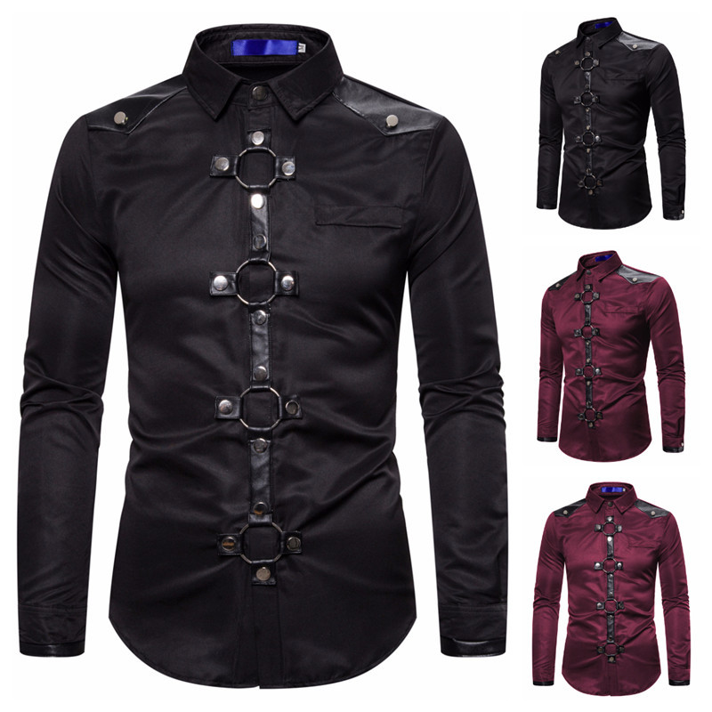 COLDKER Men Vintage Long Sleeve Slim Fit Shirt Steampunk Gothic Victorian Cosplay Costume Male Shirt Streetwear