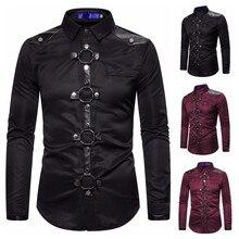 COLDKER Men Vintage Long Sleeve Slim Fit Shirt Steampunk Gothic Victorian Cospla