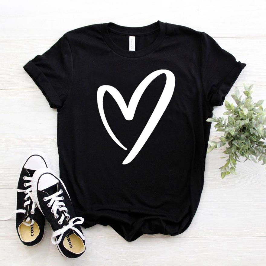 Heart Print Women Tshirt Cotton Casual Funny T Shirt For Lady Girl Top Tee Hipster Drop Ship NA-273