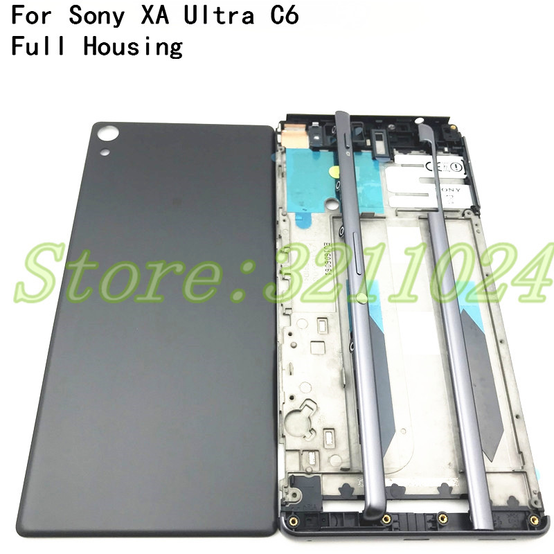Full Housing Middle Front Frame Bezel Housing For Sony Xperia XA Ultra C6 F3215 F3216 F3212+ Side Rail Stripe With Side Buttons
