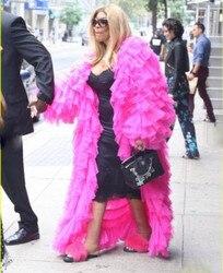 Шикарная ярко-розовая Тюлевая куртка пышные ярусы доходящая до пола Тюль с длинным рукавом Женские куртки модная одежда для вечеринок