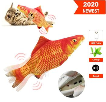 30CM Realistic Plush Electric Moving Fish Toy For Cat Interactive Cat Chew Bite Toys For Kitty Kitten Fish Flop Cat Wagging Toys electric cat toys plush interactive electronic bite resistant chew molar moving dancing fish toy kitten grinding claw