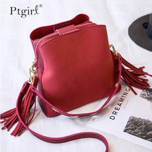 2019 Fashion Scrub Women Bucket Bag Vintage Tassel Messenger Ptgirl womens handbags bolsas femininas sac à main femme