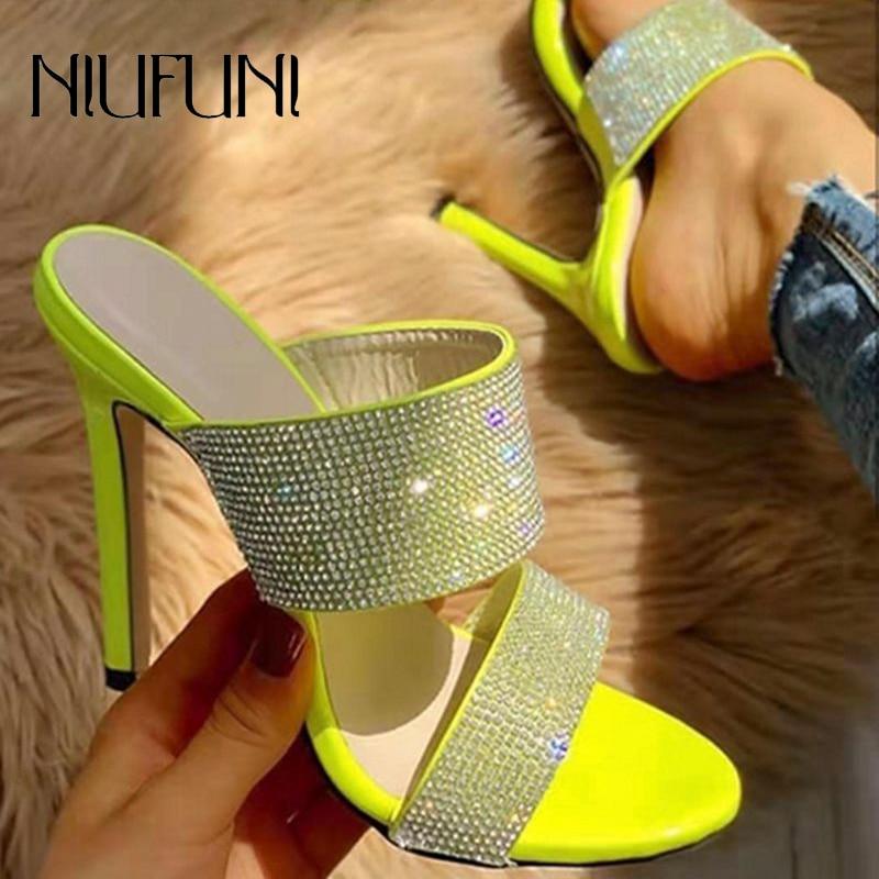 Fashion Rhinestone Plus Size 35-42 Women's Slippers Sandals 2020 Summer Shallow Stiletto High Heels Ladies Slides Women's Shoes