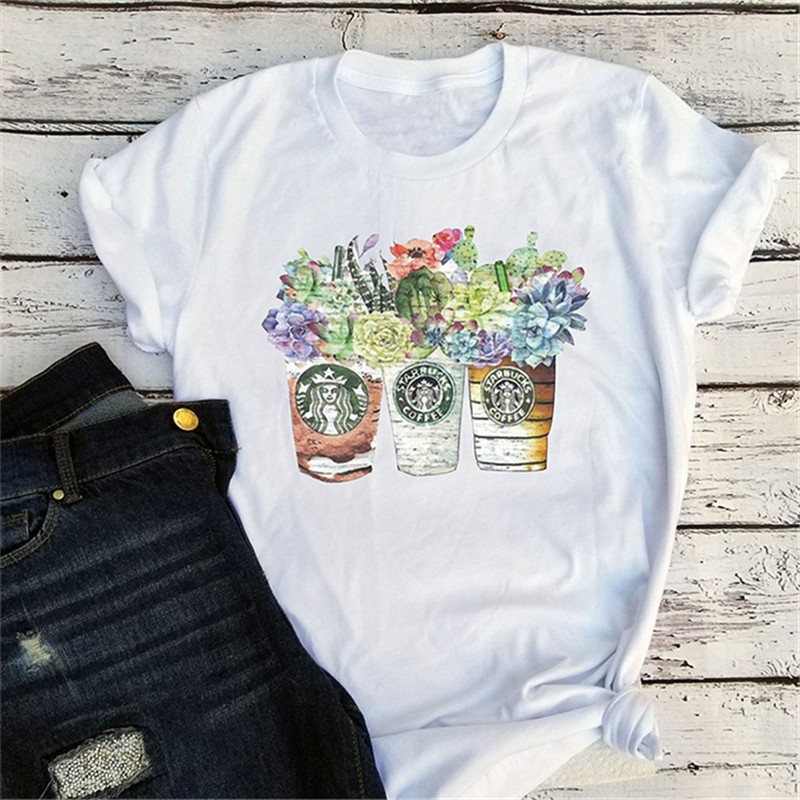 Harajuku T Shirt Women Vintage Tees Graphic T Shirts Streetwear Girls Top Cups With Coffee Tee Succulent Floral Cactus Tshirt