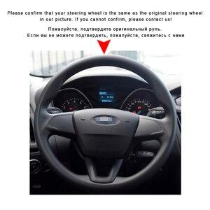 Image 3 - 포드 포커스 3 용 스티어링 휠 커버의 자동차 브레이드 다기능 버튼이없는 2015 2018 자동 조향 커버 가죽