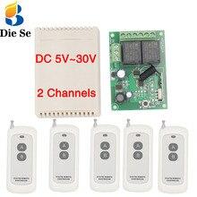 Sistema de Control remoto rf, 433Mhz, interruptor inalámbrico Universal para bricolaje, placa de receptor de relé rf cc 5V ~ 30V 2CH y transmisor de largo alcance