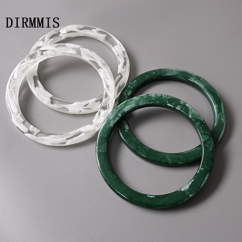 New Woman Bag Accessory White Green Acrylic Resin Bag Parts Luxury Handcrafted Wristband Women Replacement Bag Handle Circlet