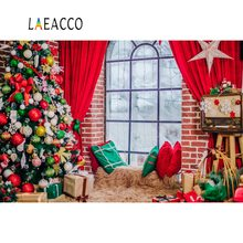 Laeacco Merry Christmas Tree Ball Gift Star Pillow Window Rural House Baby Child Portrait Photo Backgrounds Photography Backdrop