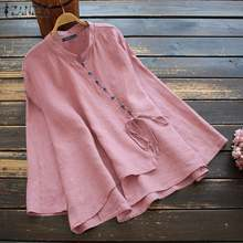 Tops Linen Blouse Solid-Shirt Long-Sleeve ZANZEA Women Tunic Buttons Lace-Up Blusas Vintage
