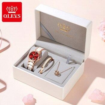 OLEVS Women watch Set Waterproof Automatic Mechanical watch Female Ceramic watch Gift for Women Wristwatches 6