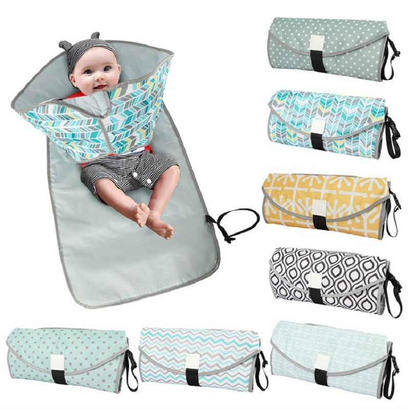 Stroller Strap,Side Pocket for Wipes Diaper| for Infants /& Newborns Cute Bunny Waterproof Baby Changing Pad Diaper Bag Mat Portable Diaper Changing Pad Foldable Travel Changing Station