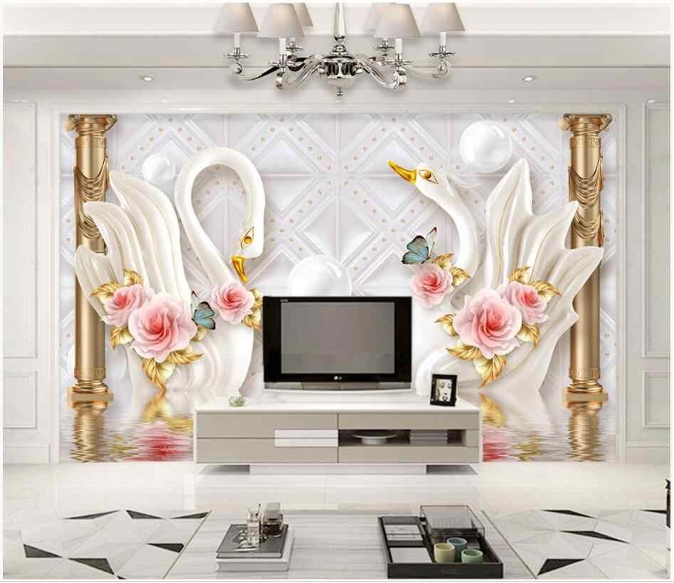 مخصص صور 3d خلفيات بجعة الذهبي الروماني العمود لينة مجوهرات ديكور التلفزيون حائط الخلفية 3d جداريات حائطية خلفية ل جدار 3 d