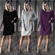 2019 Kaguster New Sweater Dress Loose Dresses Womens Sweaters Pullovers Winter Autumn Solid Office Lady Casual Plus Size Pop