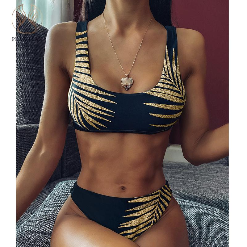 Peachtan Vintage Bandeau Bikini Set 2020 Print Swimsuit Female High Cut Swimwear Women Brazilian Bikini Bathers Bathing Suit New