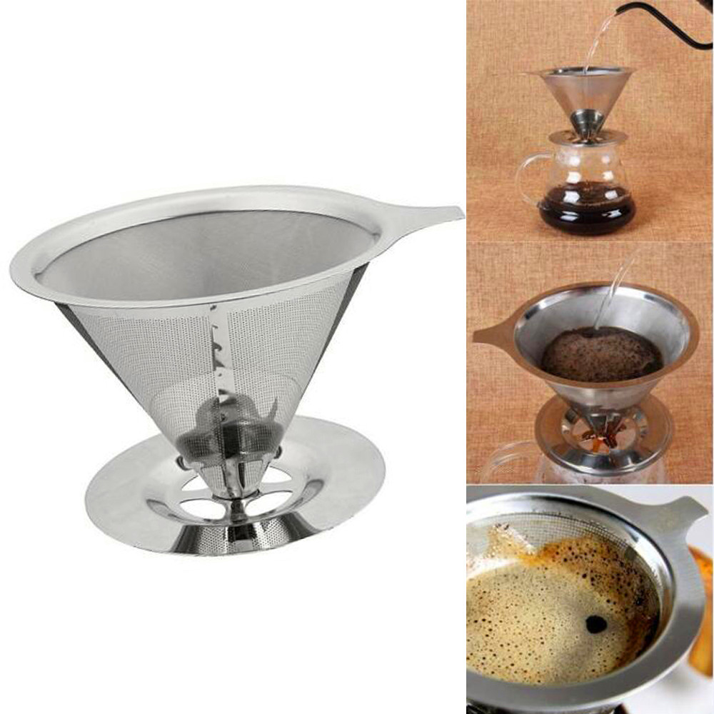 Double Layer Coffee Filter Holder Stainless Steel Pour Over Coffees Dripper Mesh Coffee Tea Filter Funnel Basket Filters Tools