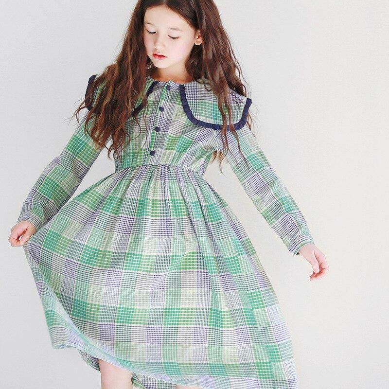 New Arrival 2020 Spring Girls Plaid Dresses Fashion Kids Elegant Dresses For Girls Cotton Baby Girls Casual Dresses, #8484