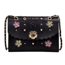 JUILE Luxury Designer Ladies Leather Handbag Women's shoulder bag Fashion Hollow Flowers Lady Crossbody Bag clamshell Chain