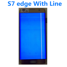 "Original 5.5 ""AMOLED Für Samsung Galaxy S7 rand LCD G935A G935U G935F LCD Display Touchscreen Digitizer Montage Mit linie"