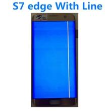 """Original 5.5 """"amoled para samsung galaxy s7 borda lcd g935a g935u g935f display lcd tela de toque digitador assembléia com linha"""