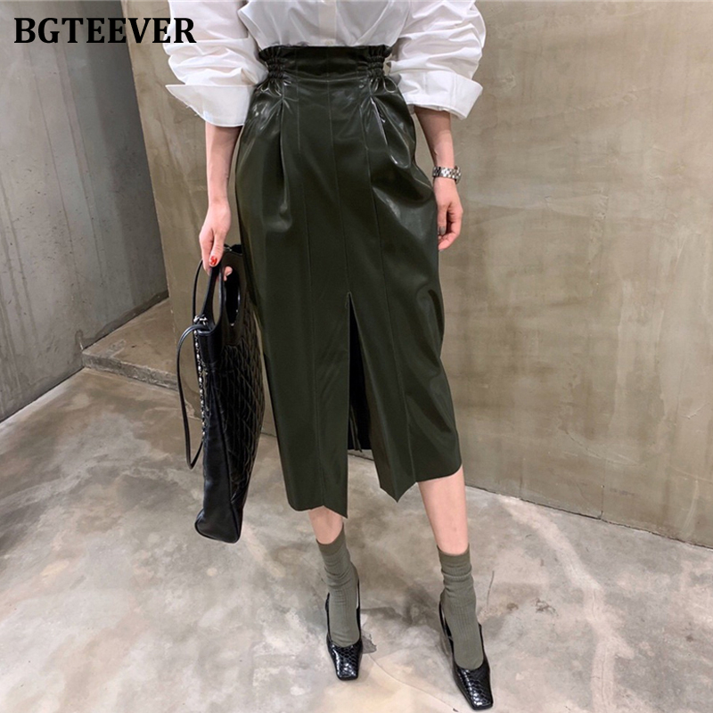 BGTEEVER Fashion Elastic Waist Bodycon Faux-leather Women Skirt Streetwear High Waist Ruched Female PU Skirts Midi Pencil Skirt